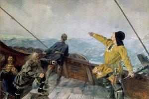 Lukisan Leif Erikson menemukan Benua Amerika karya Christian Krohg
