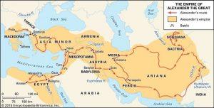 Peta rute kampanye militer Aleksander Agung